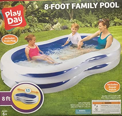 Amazon.com: Piscina familiar hinchable de 8 pies Play Day ...