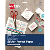 "Avery Full-Sheet Sticker Craft Paper, Glossy Clear, 8-1/2"" x 11"", Pack of 7 (4397)"