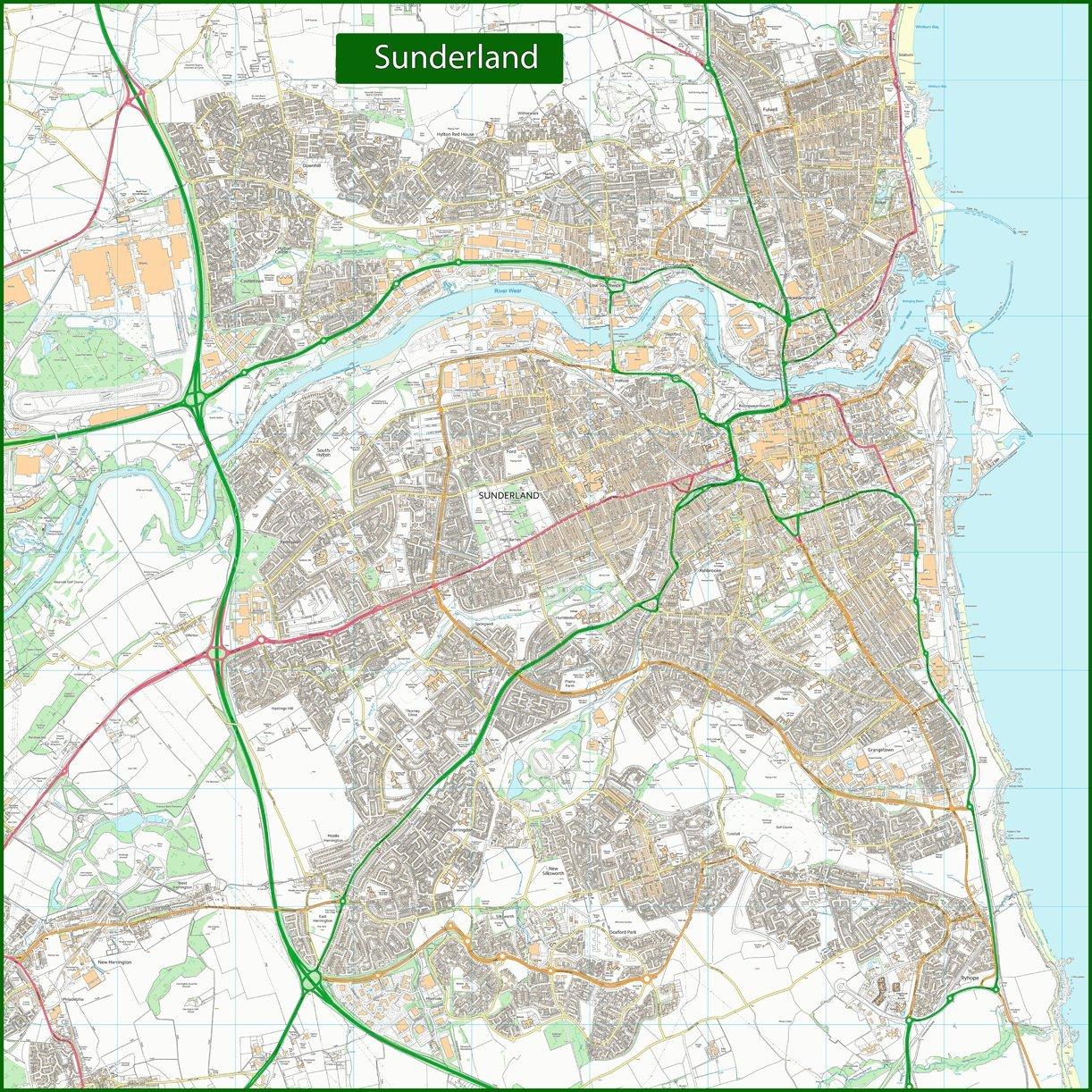 Sunderland calle calle Sunderland mapa – 135 x 135 cm f600d5