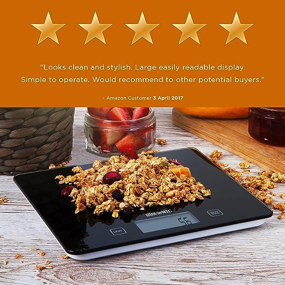 Duronic KS875 Báscula Cocina Digital 5 Kg de Cristal Balanza Peso Ingredientes Color Gris: Amazon.es: Hogar