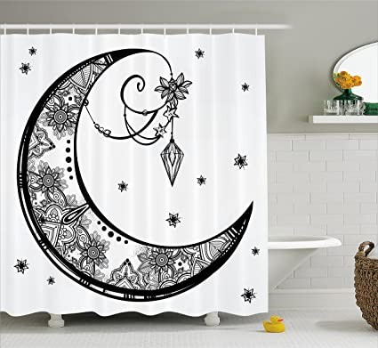 Ambesonne Tribal Shower Curtain Paisley Floral Moon Crescent Gem Figures Ethnic Astrology Inspired Design Print
