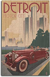 product image for Lantern Press Detroit, Michigan - Vintage Car and Skyline (10x15 Wood Wall Sign, Wall Decor Ready to Hang)