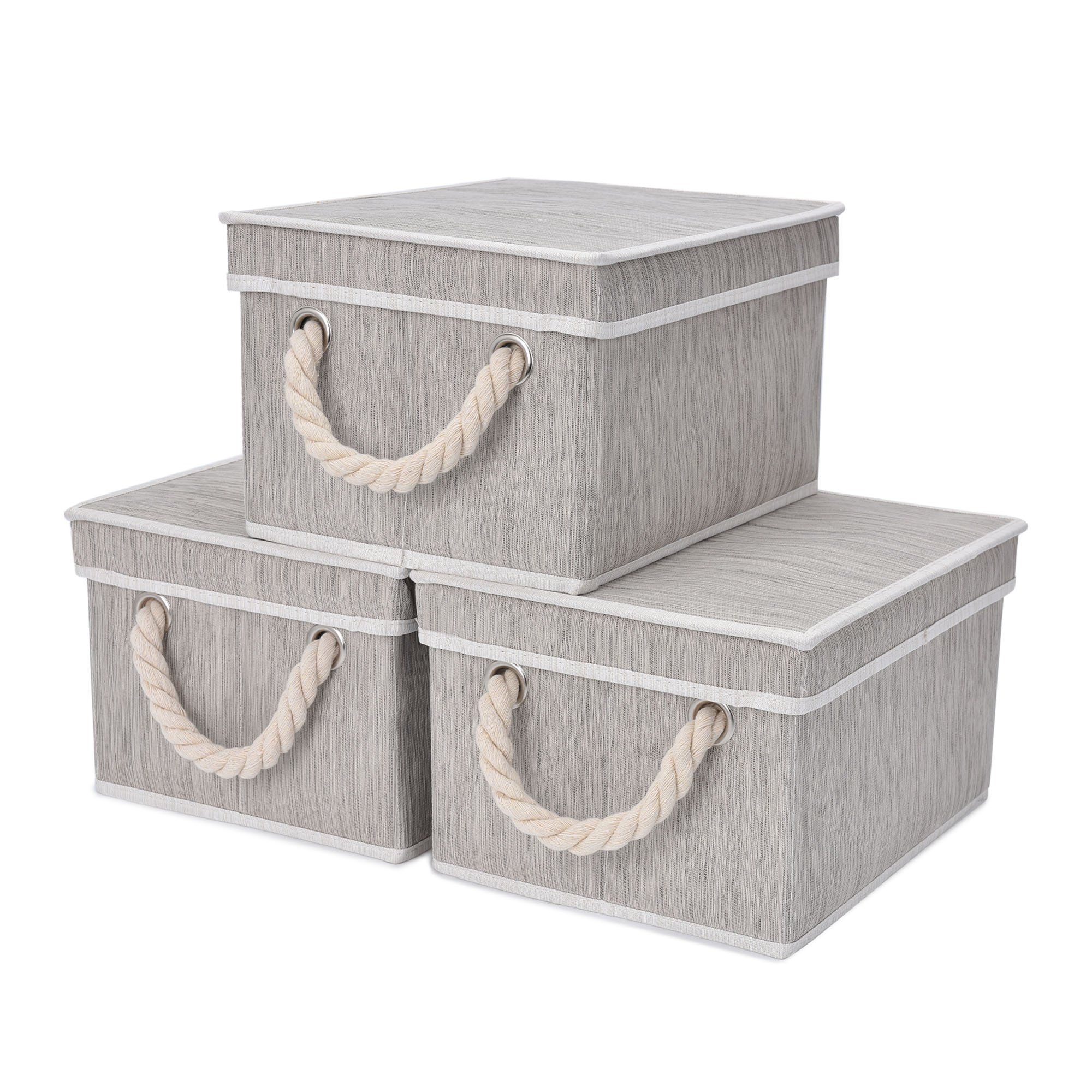 StorageWorks Storage Bins with Lid and Cotton Rope Handles, Foldable Storage Basket, Gray, Bamboo Style, 3-Pack, Large,14.4x10.0x8.5 inches (LxWxH)