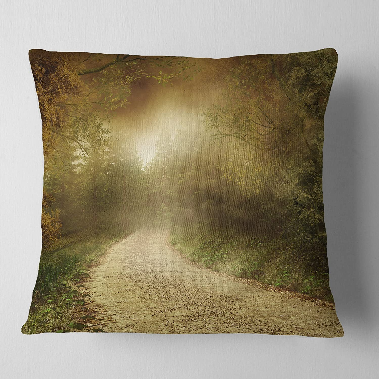 Sofa Throw Pillow 18 x 18 Designart CU9767-18-18 Country Road Through Fall Scenery Landscape Photography Cushion Cover for Living Room