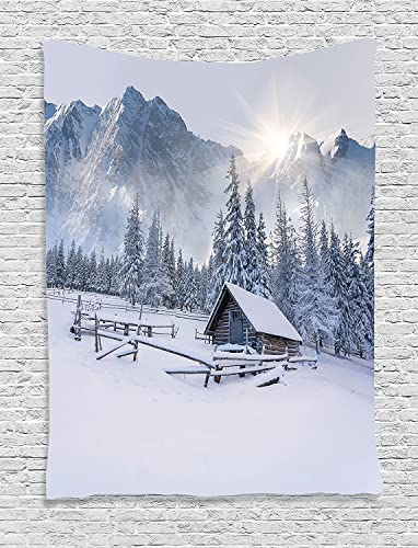 Ambesonne Apartment Decor Collection, Old Farm House by The Mountain in The Winter Season Cold Times in Rural Nature Scene Photo, Bedroom Living Room Dorm Wall Hanging Tapestry, White
