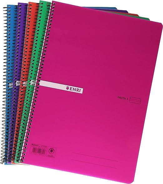 Enri 400043836 - Pack de 5 cuadernos de rayas con espiral simple ...