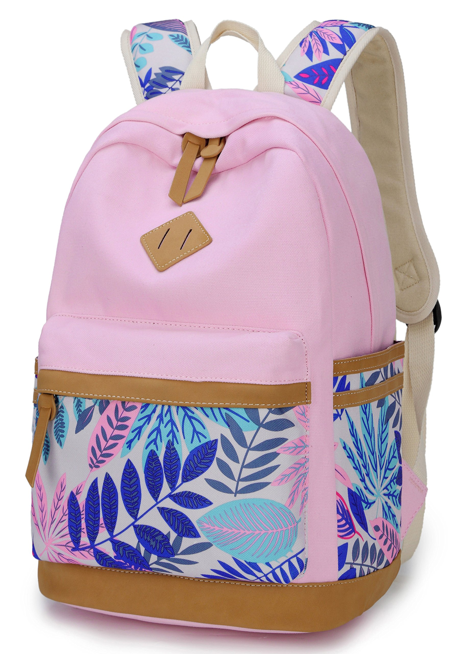 Goldwheat Girls Canvas Backpack School Bag College Bookbag Cute Casual Shoulder Daypack Travel Rucksack for Women Girls