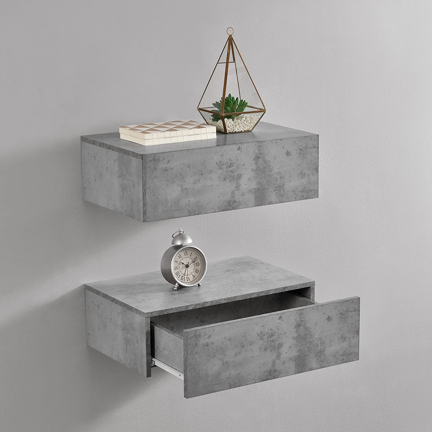 En Casa Wandregal Mit Schublade 2er Set Beton Optik 46x30x15cm