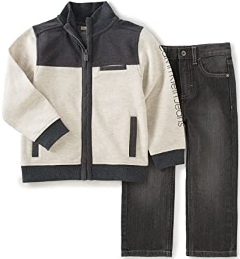 fb652a06 Amazon.com: Calvin Klein Little Boys Jacket with Jeans Pants Set ...