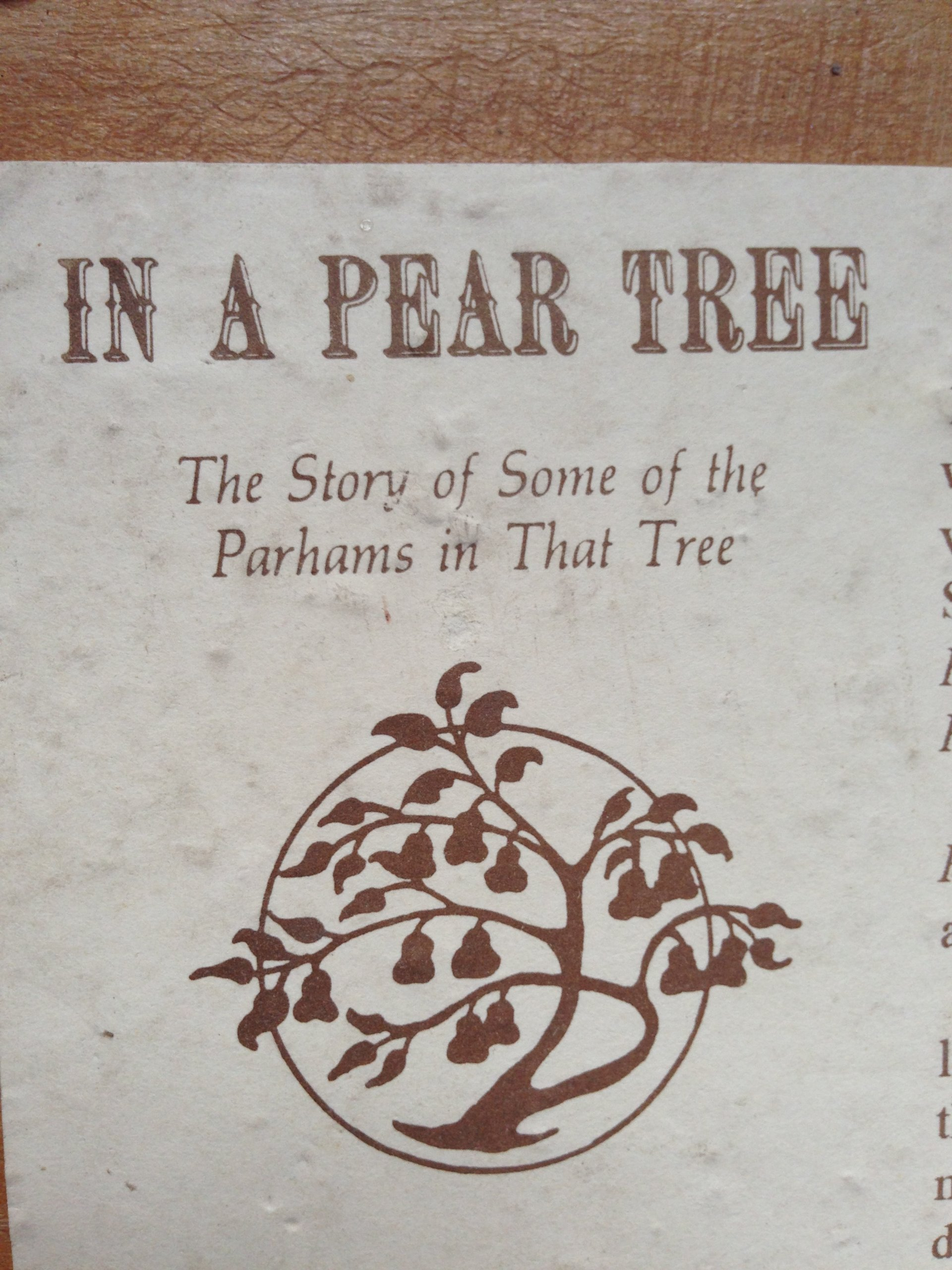In A Pear Tree The Story Of Some Of The Parhams In That Tree