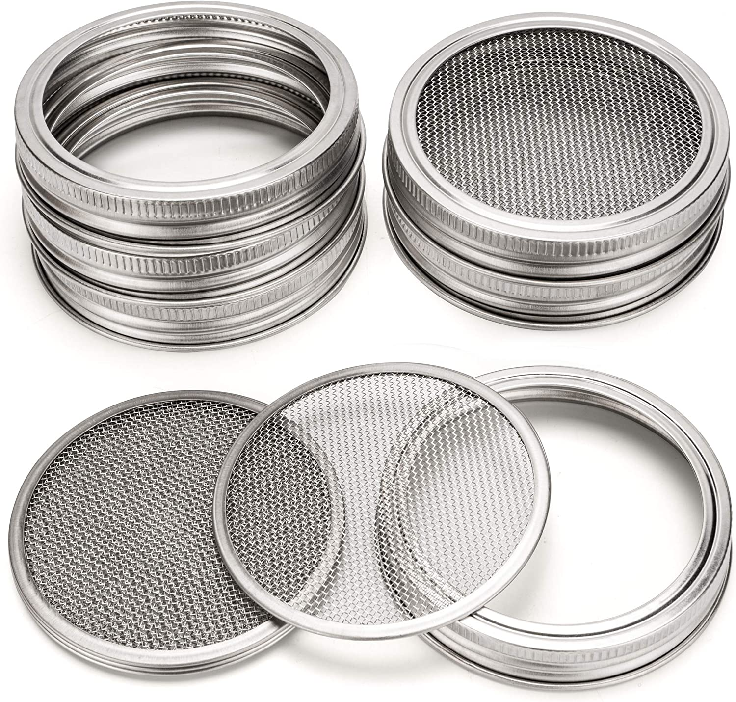 TRAORM 6Pack Sprouting Lids with Stainless Steel Screen for Wide Mouth Mason Jar Sprouting Lids Kit Sprout Germinator Set to Grow Your Own Organic Sprouts(Jar not Included) (Silver)