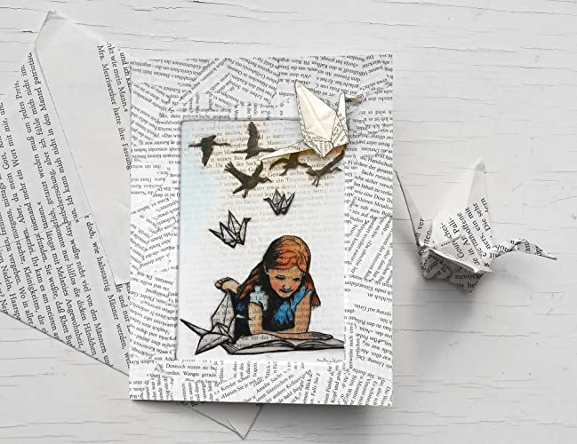 For Book Lovers Birthday Card With White Paper Cranes Origami