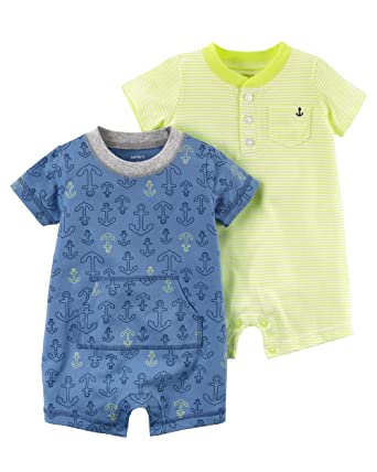 8db9f81b0 Amazon.com  Carter s Baby Boy s 2 Pack Cotton Romper Creeper Set  Clothing
