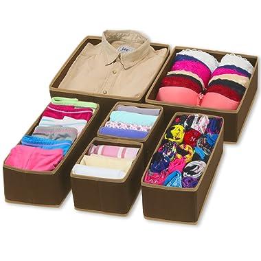 Simple Houseware Foldable Cloth Storage Box Closet Dresser Drawer Divider Organizer Basket Bins for Underwear Bras, Brown (Set of 6)
