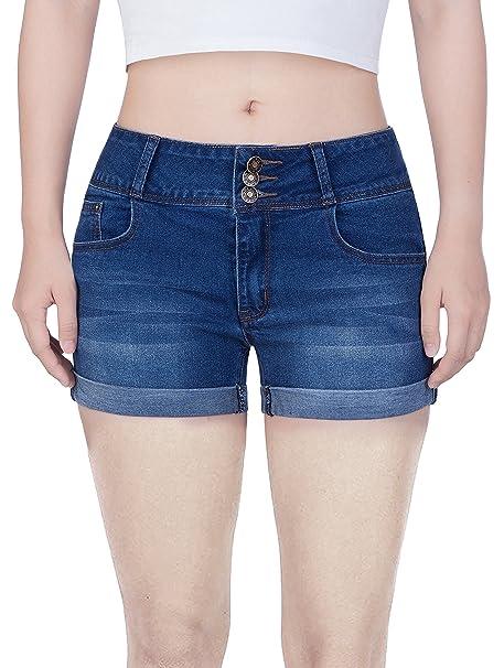 2447ca2eec Women's Juniors Mid Thigh Stretch Vintage Folded Hem Casual Denim Jean  Shorts