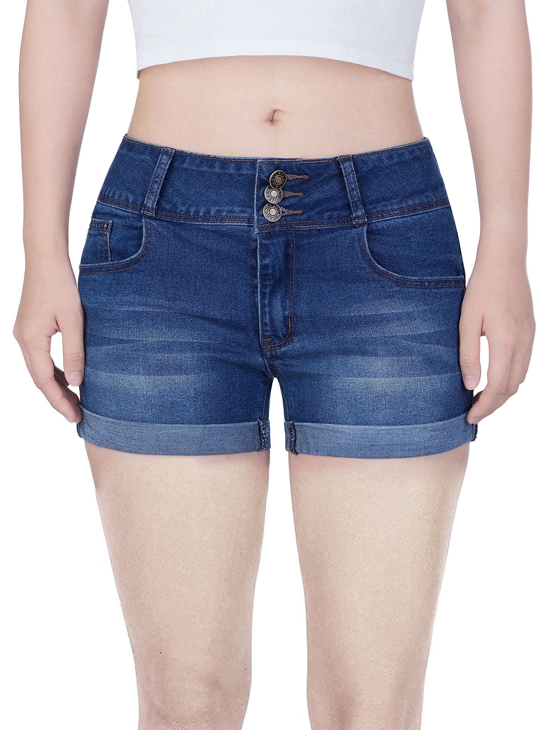 COLINNA Women's Juniors Denim Jean Shorts Mid Thigh Stretch Vintage Folded Hem for Casual