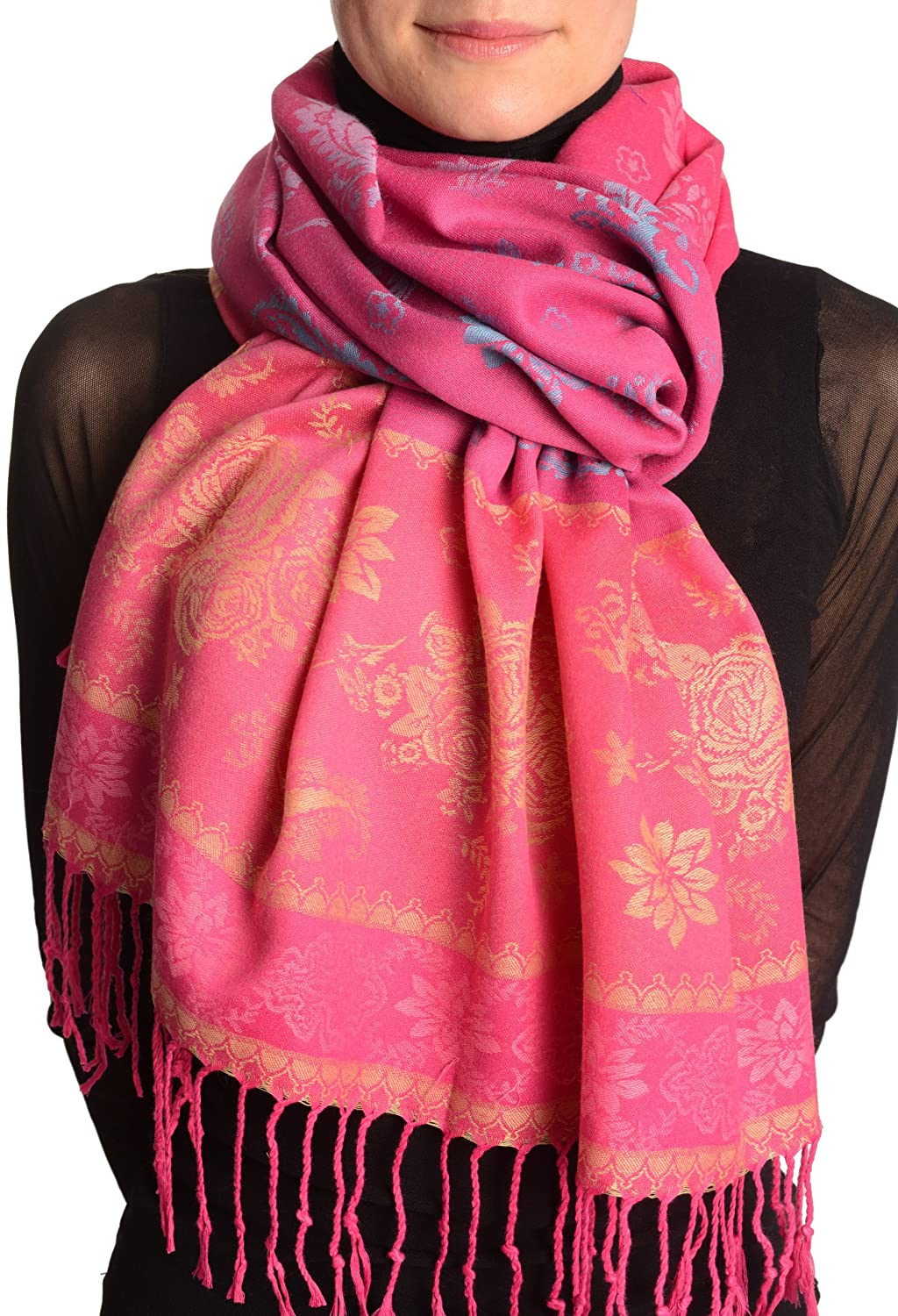Fern & Flowers On Dark Pink Pashmina Feel With Tassels - Scarf