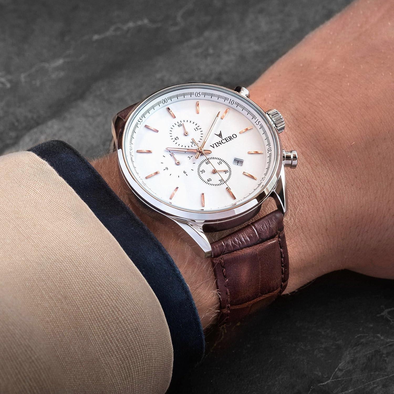 817784b0e18 Montre bracelet de luxe Vincero Chrono S pour homme - Cadran blanc avec  bracelet en cuir marron - Montre Chronographe 43mm - Mouvement à quartz  japonais  ...
