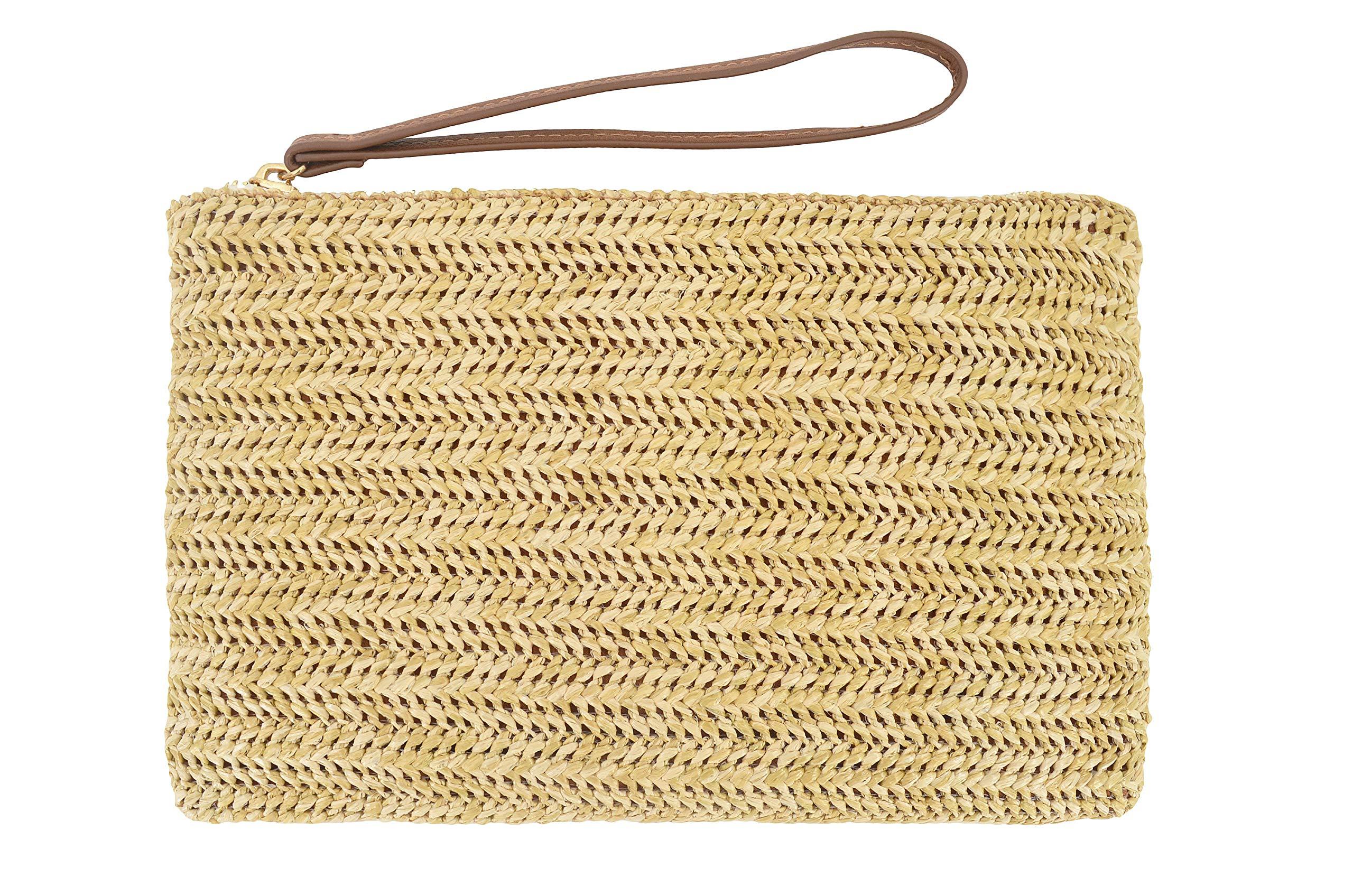 AGNETA Women's Hand Wrist Type Straw Clutch Summer Beach Sea Handbag (Beige Small)