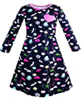 Girls Dress Cartoon Hands Heart Dog Printed Casual Age 3-12 Years