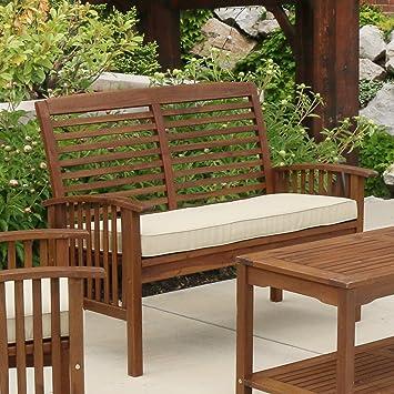 WE Furniture Solid Acacia Wood Patio Loveseat Bench. Amazon com   WE Furniture Solid Acacia Wood Patio Loveseat Bench