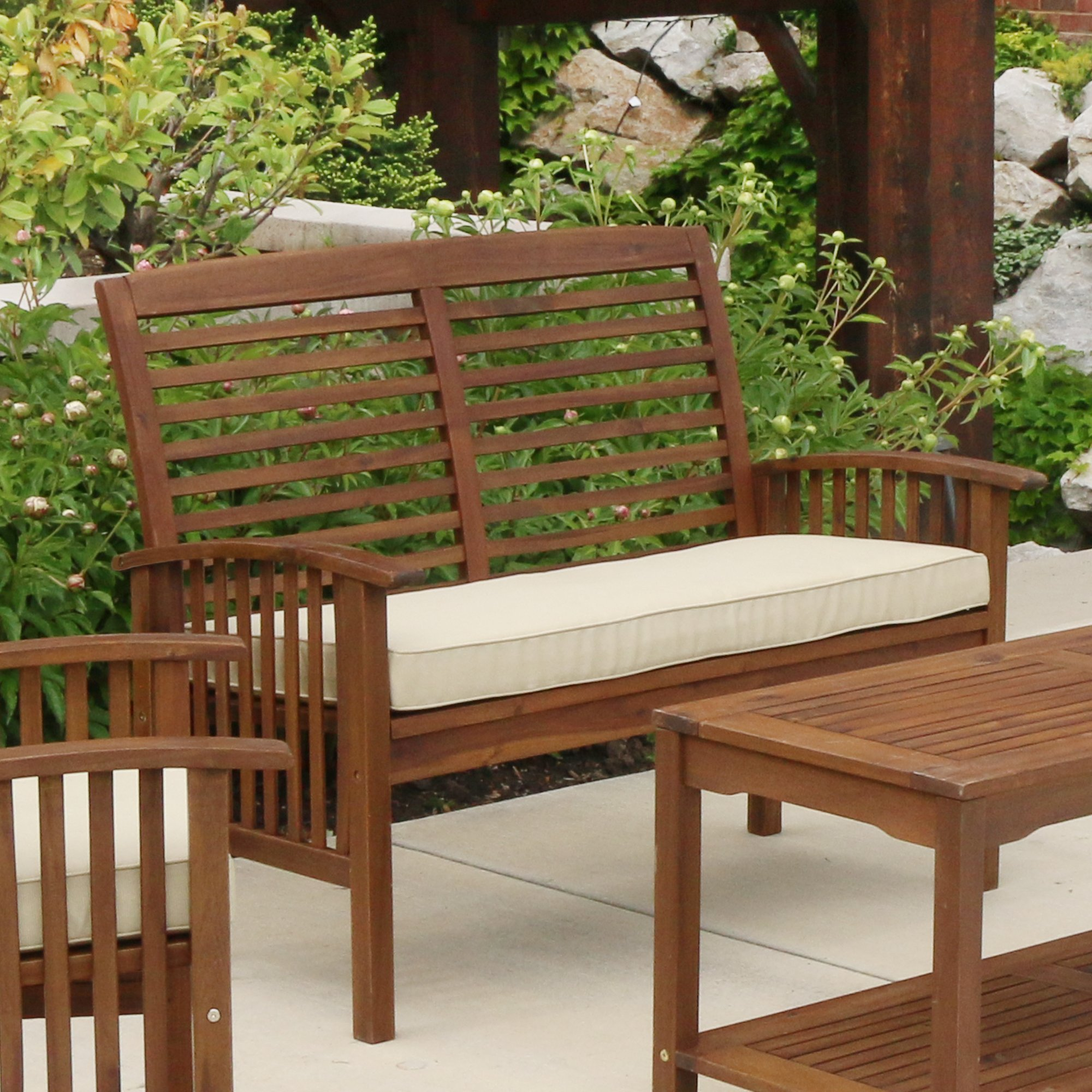 WE Furniture Solid Acacia Wood Patio Loveseat Bench