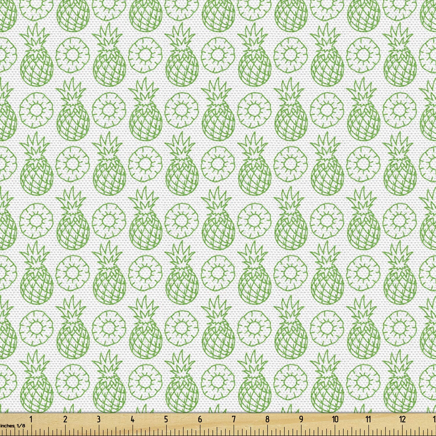 Lunarable Pineapple Fabric by The Yard, Classic Pattern with Pineapple Tasty Ingredient Freshness Monochrome Print, Decorative Fabric for Upholstery and Home Accents, 2 Yards, Lime Green