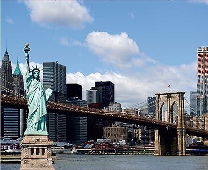 Statue Of Liberty New York City Bridge Wall Mural Non Woven