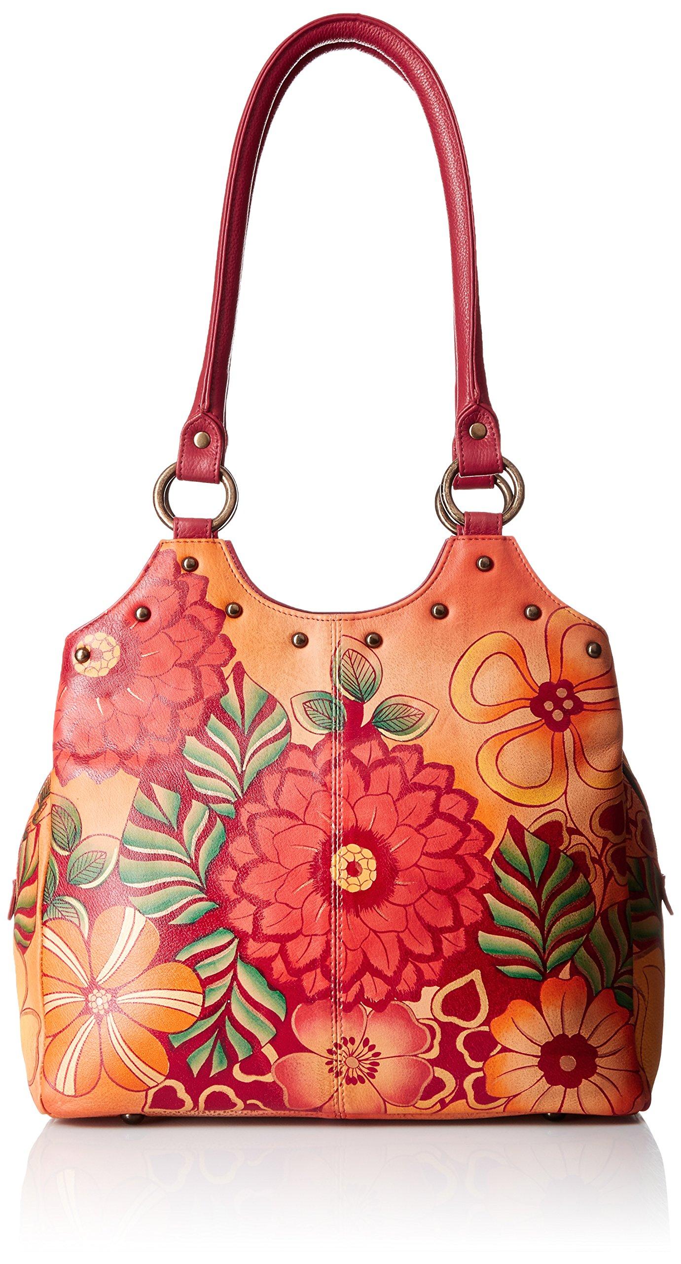 Anuschka Handpainted Leather Triple Compartment Medium Satchel, Summer Bloom