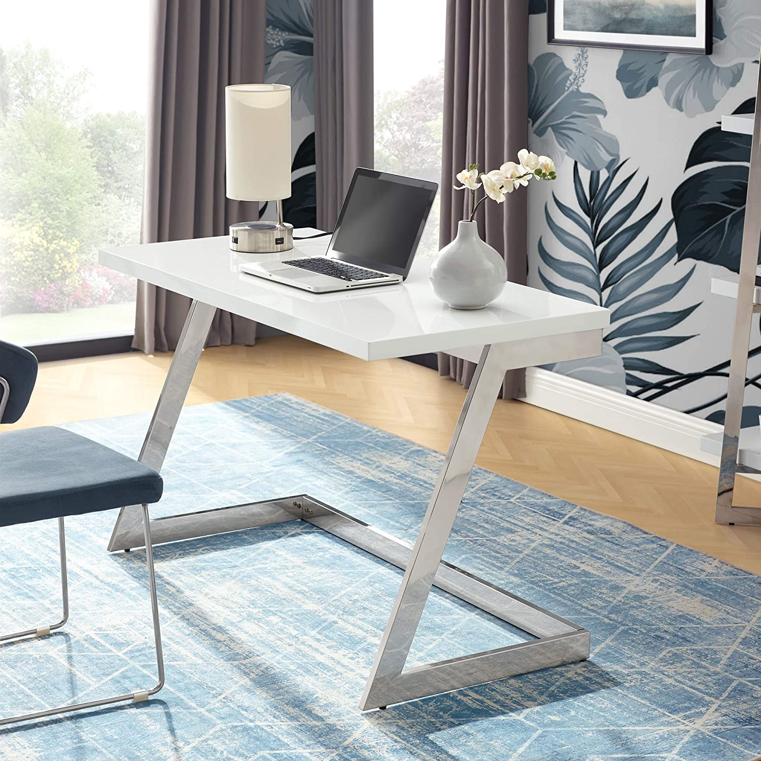 Kali White/Chrome Writing Desk - High Gloss Lacquer Finish Top   Polished Stainless Steel Base   Geometric Legs