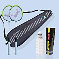 Jaspo Fire Blade Badminton Racquets with Graphite Shaft Combo - Includes 2 Rackets, Feather Shuttles (Pack of 5) and Carry Bag