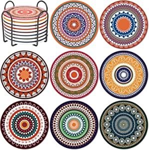 Jollsung Coasters for Drinks, 8 Packs Absorbent Mandala Ceramic Coasters with Cork Base, Metal Holder Storage, Housewarming Gift Stone Coaster for Cold Drinks Wine Glasses Plants Cups & Mugs