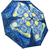 "Galleria Van Gogh Starry Night Auto-Open/Close Extra Large Portable Rain Folding Umbrella for Women, 48-inch canopy, compacts to 12"" fitting in most totes, unbreakable fiberglass ribs"