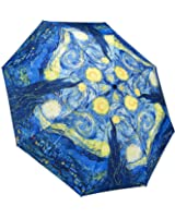 """Galleria Van Gogh Starry Night Auto-Open/Close Extra Large Portable Rain Folding Umbrella for Women, 48-inch canopy, compacts to 12"""" fitting in most totes, unbreakable fiberglass ribs"""