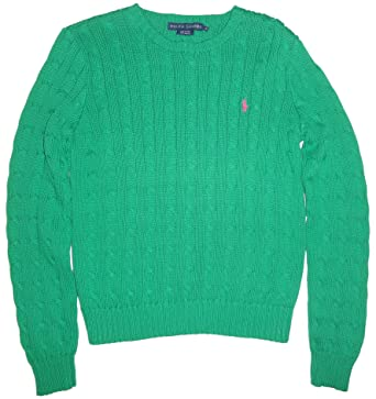 Ralph Lauren Womens Cable Knit Sweater Kayak Green Medium At