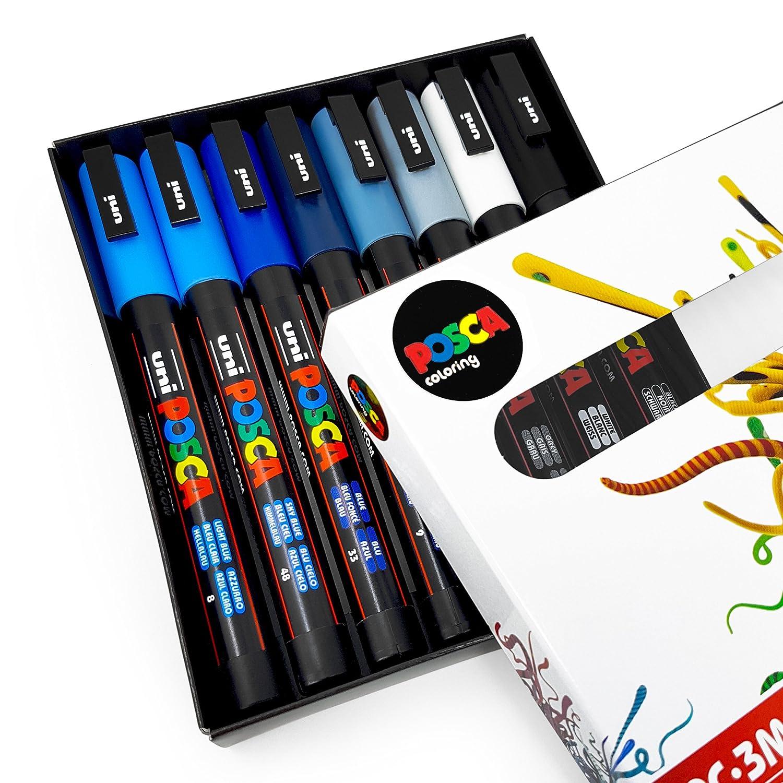 Uni Posca –  pc-3 m Art Paint Markers –  Cool Tones –  Set di 8 –  in confezione regalo Uni-Ball