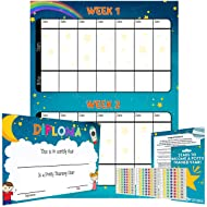 Potty Training Reward Chart – Multicolored Star Stickers Mark Behavior Progress – Motivational Toilet Training for Toddlers and Children – Great for Boys and Girls (Space Theme)