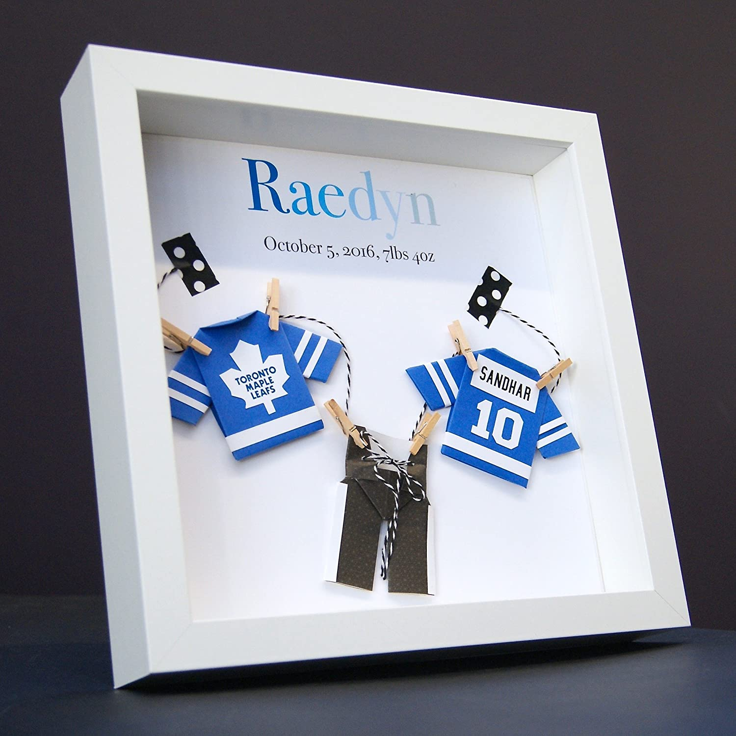 Personalized Name Paper Origami Hockey NHL Toronto Maple Leafs Shadowbox Frame Custom Newborn Baby Shower Gift Nursery Art