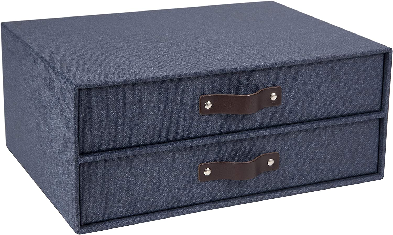 Bigso Birger 2-Drawer Canvas Fiberboard Easy Pull Handle Document Letter Box, 5.7 x 13 x 9.8 in, Blue