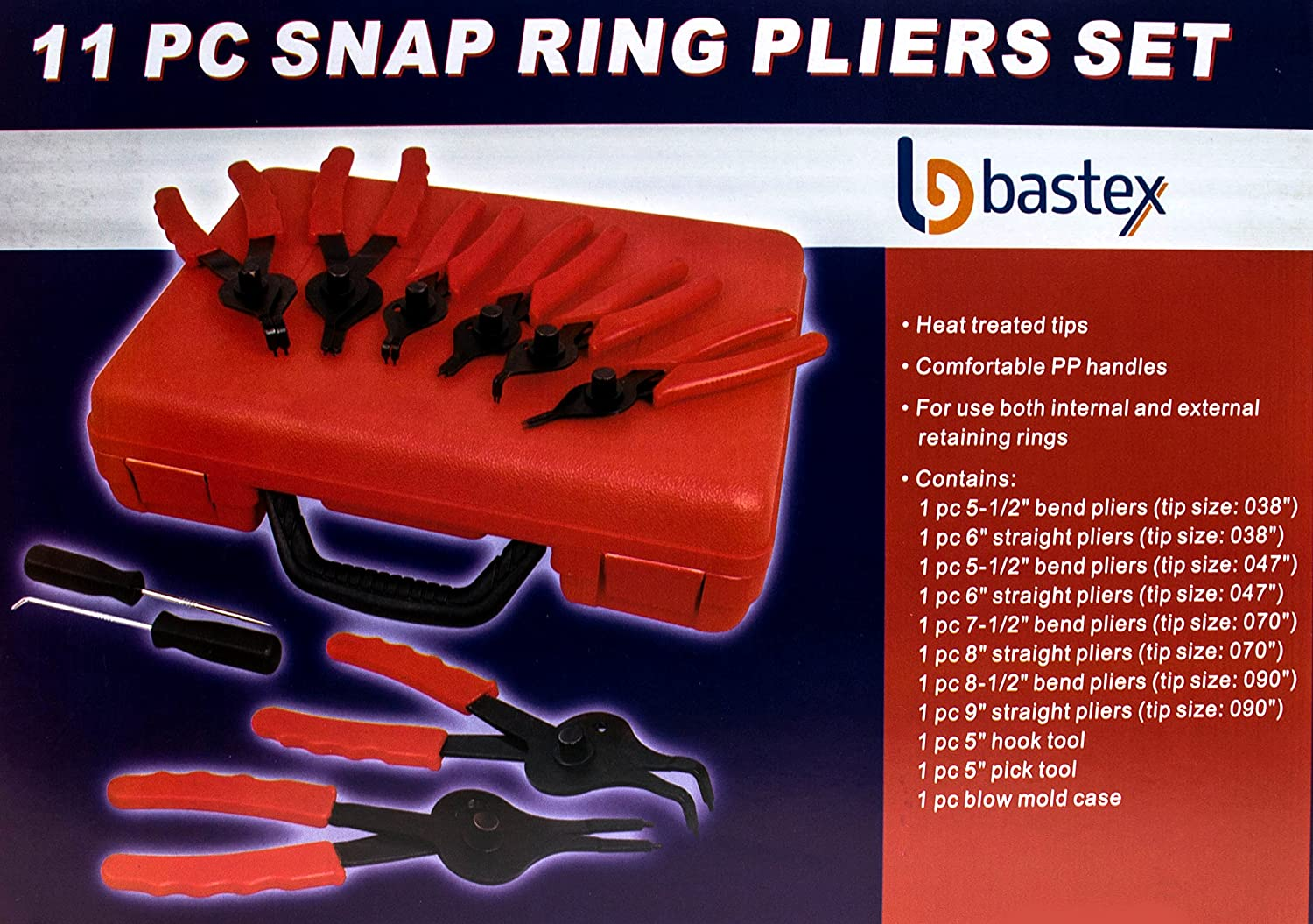Easy Push nut E Spiral an Split ring Removal. Bastex 11 piece Internal External Plier Set for Retaining Snap Ring and Circlip Removal Tools for Automobiles Lawnmowers and Farm Equipment Maintenance