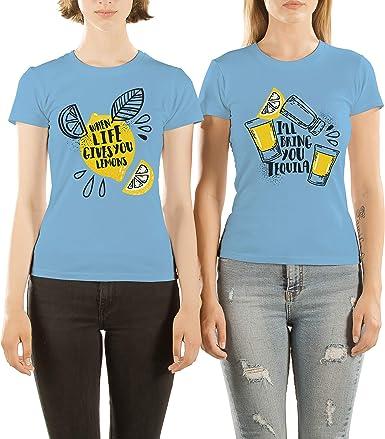 VivaMake Pack 2 Camisetas de Mujer Originales para Mejores Amigas con Diseño I Love Short Shots: Amazon.es: Ropa y accesorios