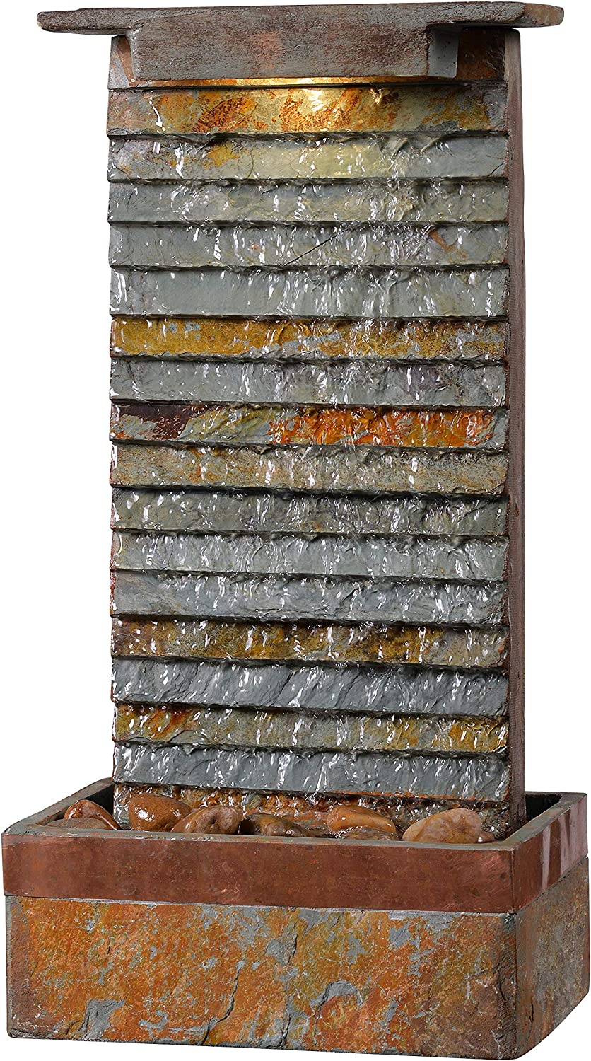 Kenroy Home Rustic Indoor/Outdoor Table Fountain,19 Inch Height, 10 Inch Width, 6 Inch Ext. with Slate and Copper