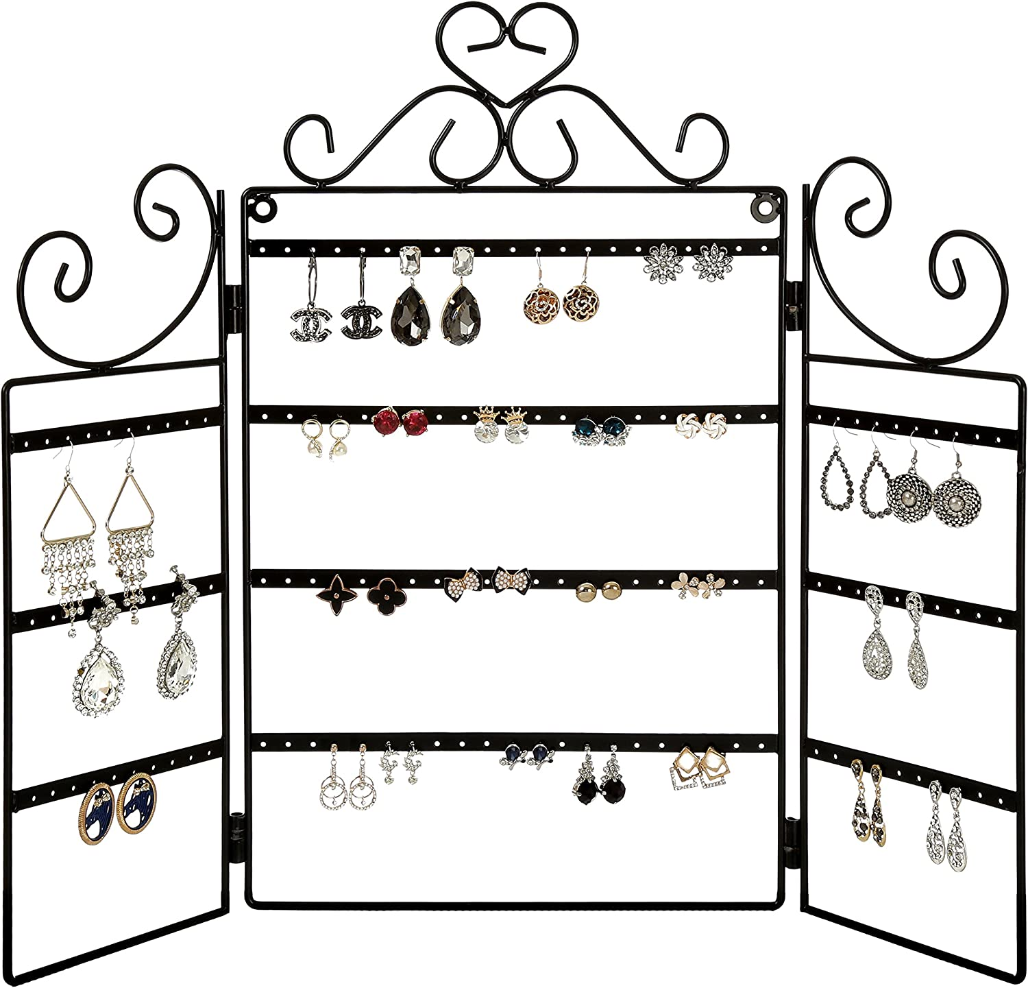 MyGift 72 Pair Earring Organizer Stand, Wall Mount Jewelry Display Rack, Black