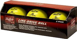 Rawlings LDBALL3PK Line-Drive Training Ball (3 PK), Yellow, Standard Baseball Size
