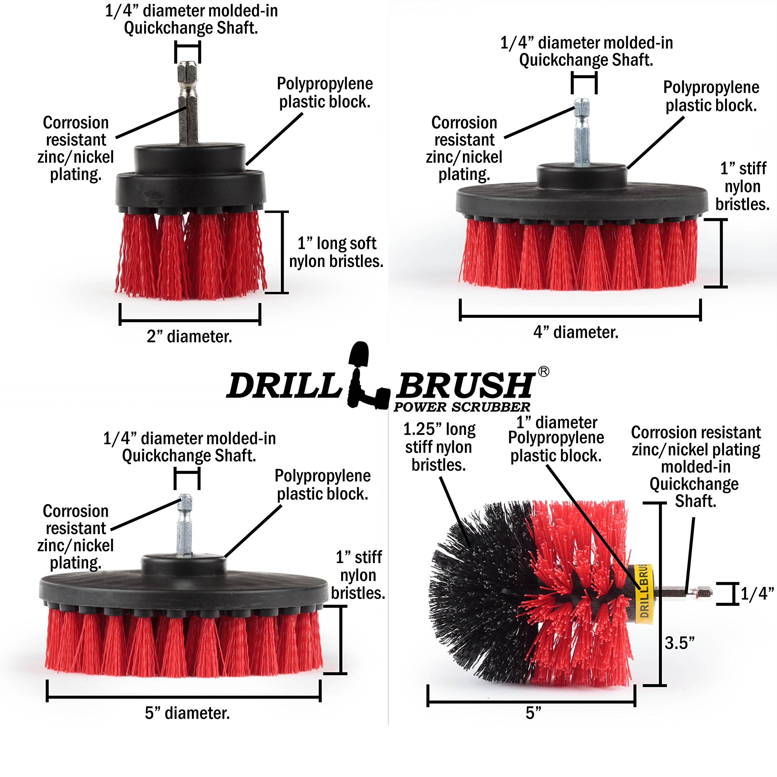 Stiff Bristle 4 Piece Drill Brush Nylon Cordless Drill Powered Spinning Brush Heavy Duty Scrubbing by Drillbrush by Drillbrush (Image #5)