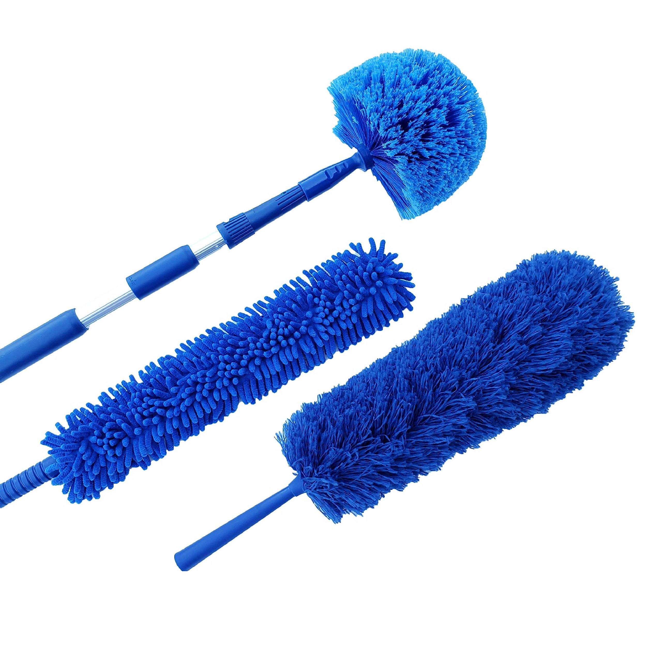 U.S. Duster Company Triple Action Microfiber Duster Set, Aluminum Extension Rod, Blue Micro Duster, Cobweb Duster, Plus Chenille Duster, Extend 18-20 feet Cleaning High Ceilings, Cathedral Ceilings
