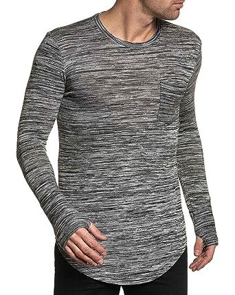 BLZ Jeans - Pull Homme Fin Noir rayé avec Poche Poitrine - Couleur  Noir - 33511537cfc8