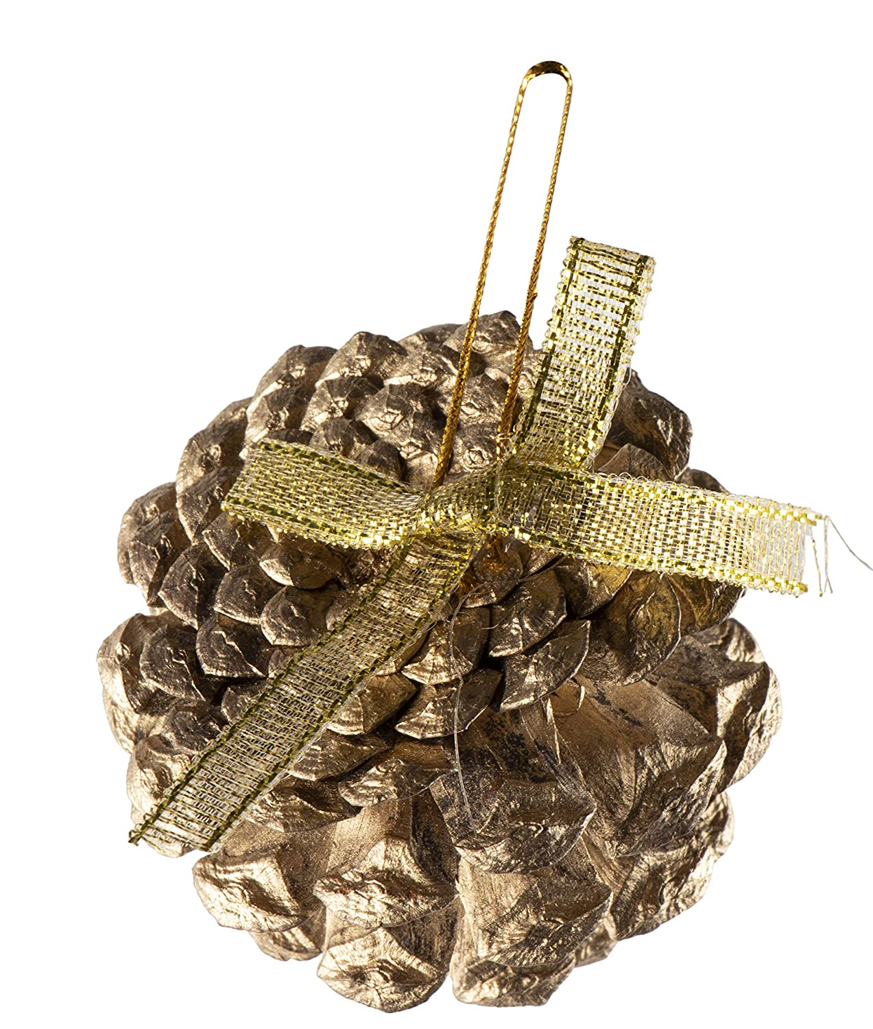 Juvale Mini Pine Cone Ornaments Gold Glitter Rustic Design Decor with String 2.2-Inch Diameter 24-Pack Christmas Tree Pinecone Ornaments Small Winter Holiday Festive Hanging Decoration