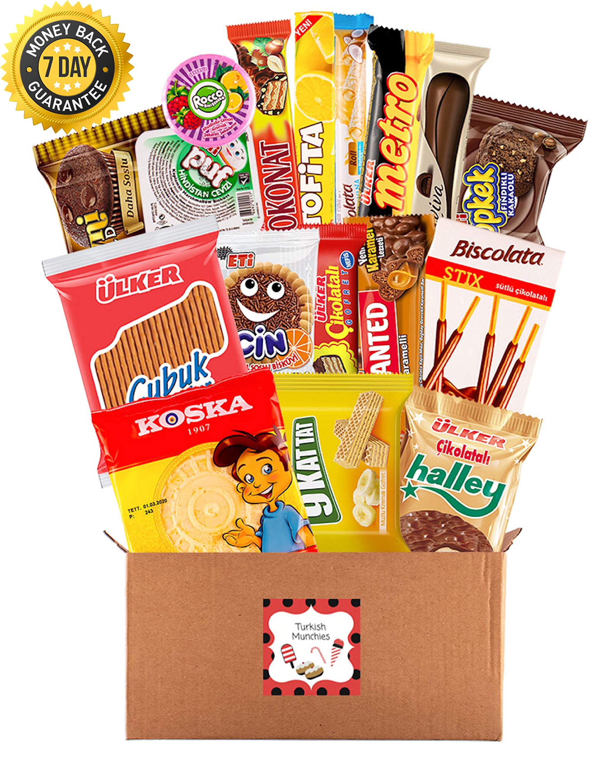 Premium International Snacks Variety Pack Care Package, Ultimate Assortment of Turkish Treats, Mix variety pack of chips, crackers, candy, Best for College Students, Military, Office Home (20 Counts)
