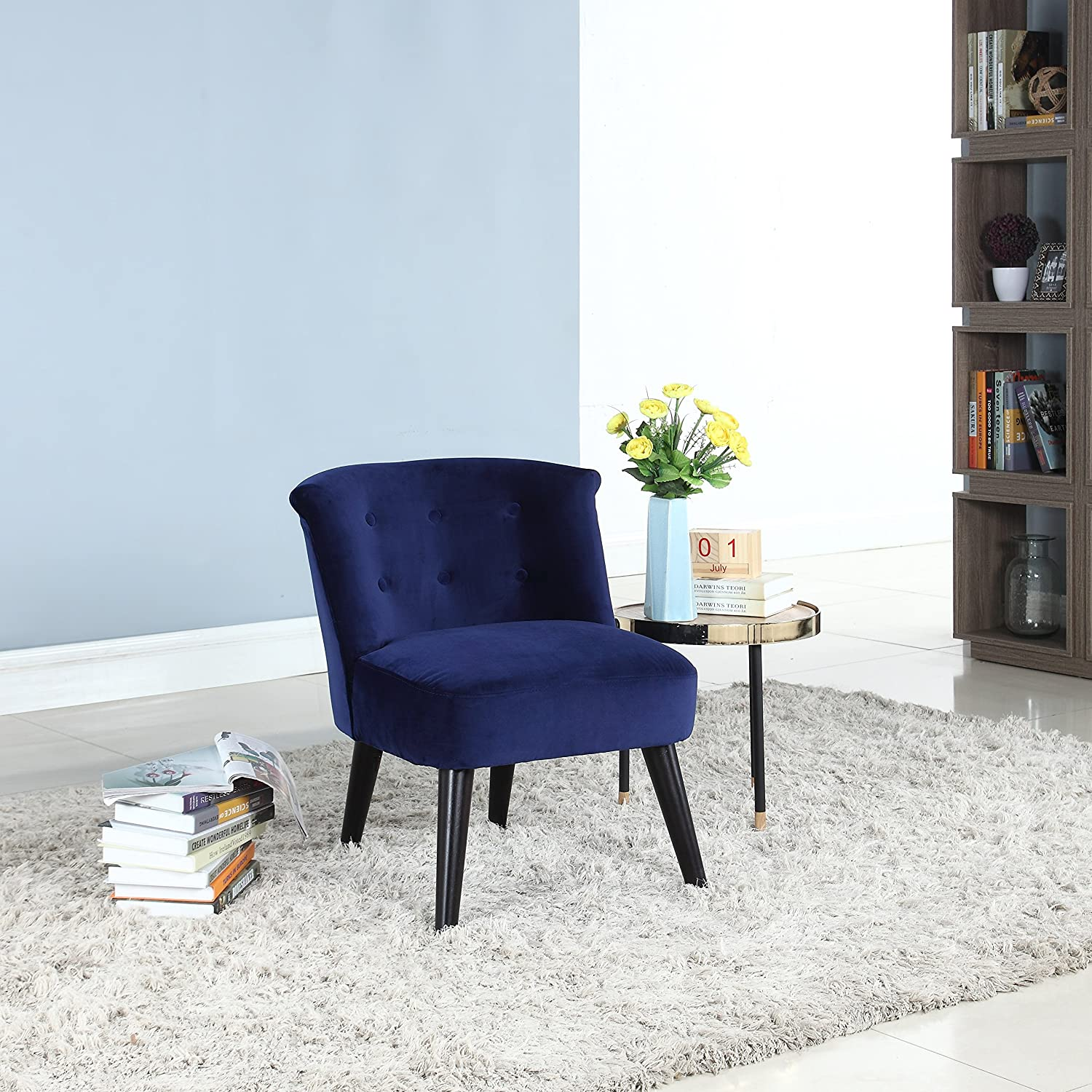Divano Roma Furniture Classic and Traditional Living Room Velvet Fabric Accent Chair with Tufted Details (Navy)